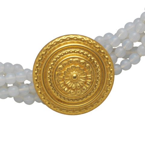 Greek Rosette Medallion Bracelet Moonstone