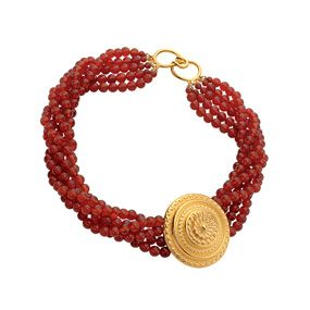 Greek Rosette Pendant Necklace (carnelian)