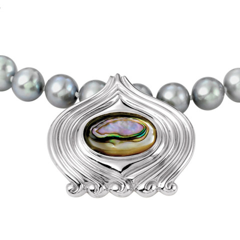 Magnolia Scroll Enhancer Pendant with Pearl Necklace
