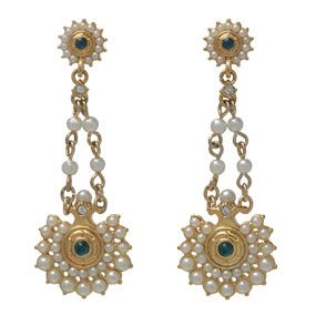 Pearl Rosette Drop Earrings
