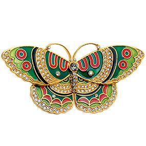 Qing Butterfly Pin (emerald)