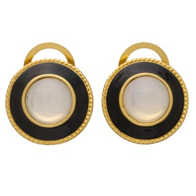 Russian Imperial Black Enamel Earrings (hoop)