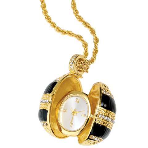 Russian Imperial Egg Pendant Watch (black)