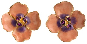 Russian Imperial Pink Pansy Earrings (post)