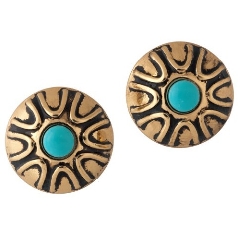 TIBETAN AMULET BUTTON EARRINGS