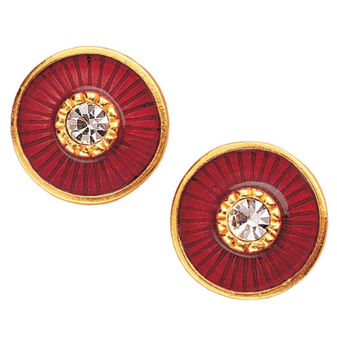 Russian Imperial Jeweled Earrings Red